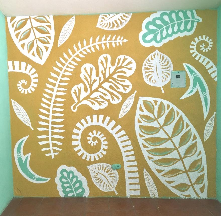 Mustard, aqua and white hand-painted interior mural by Madeline Kreider Carlson